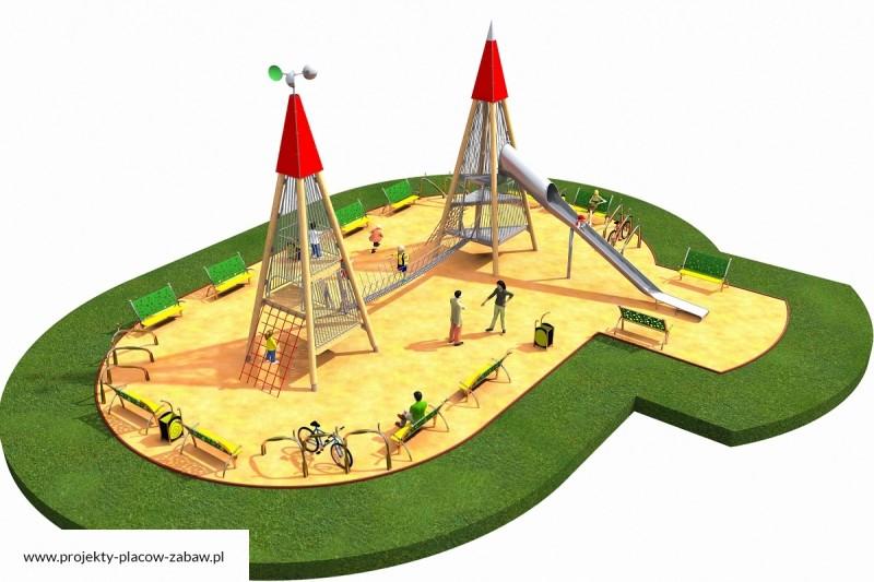 WIEŻE WIDOKOWE (6+ lat) wieże wspinaczkowe ze zjeżdżalniami - projekt placu zabaw