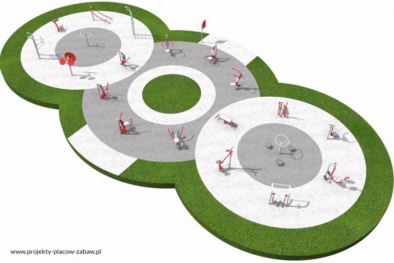 FITNESS siłownie zewnętrzne plenerowe - projekt placu zabaw