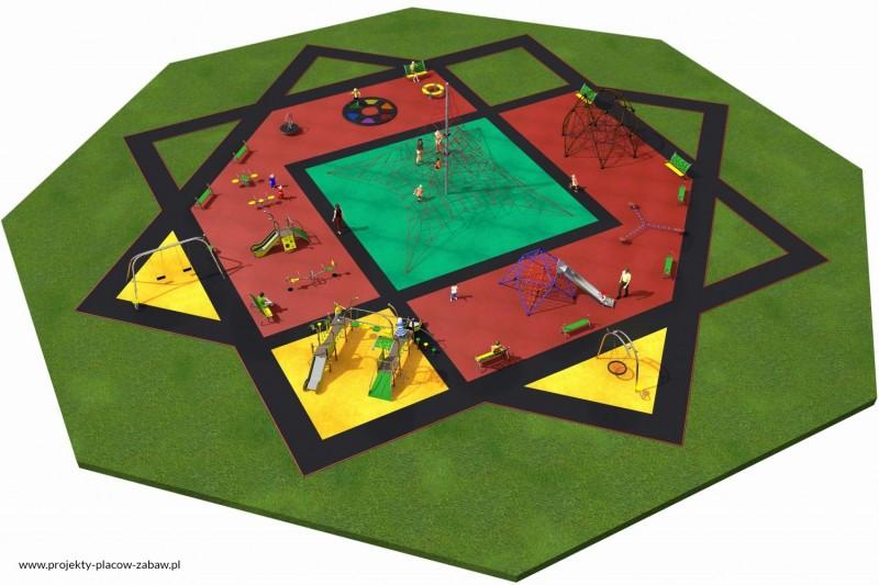 MULTI (3-12 lat) duże, wielofunkcyjne place zabaw - projekt placu zabaw