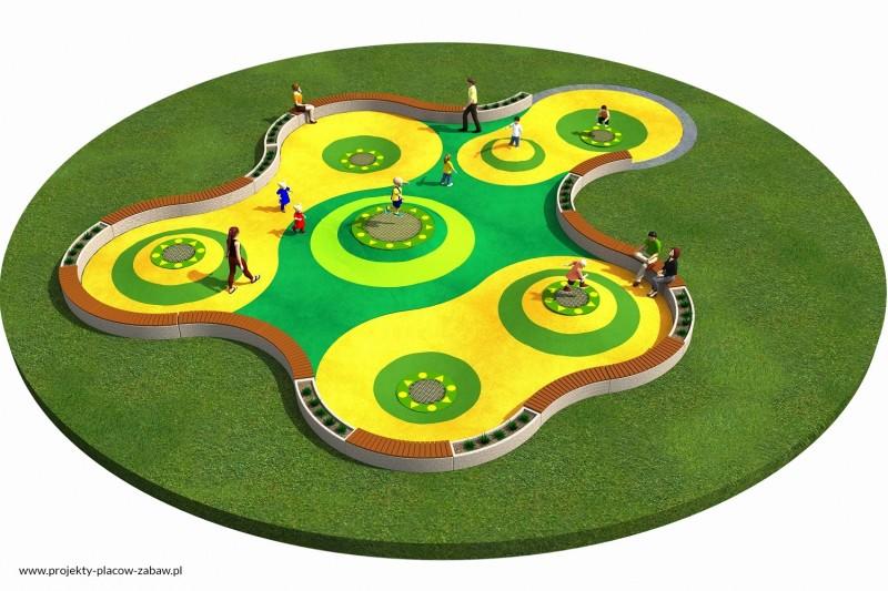 TRAMPOLINY strefy z trampolinami - projekt placu zabaw
